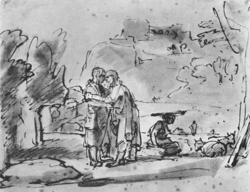 Рембрандт Харменс ван Рейн. Лаван приветствует Иакова