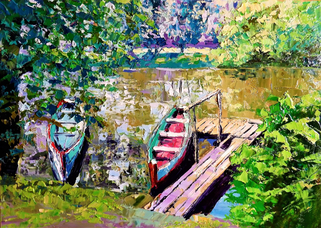 Sergey Yurievich Efremov. Boats at the pier