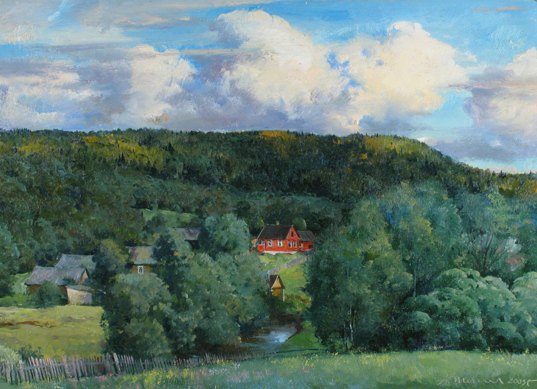 Alexander Shevelyov. View from the hill. Oil on cardboard 25.5 x 35.5 cm. 2003