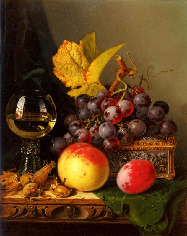 Натюрморт из черного винограда