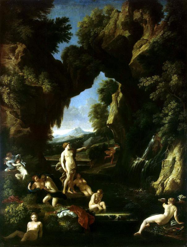 Гаспар Маратти. Пейзаж с Дианой и Актеоном