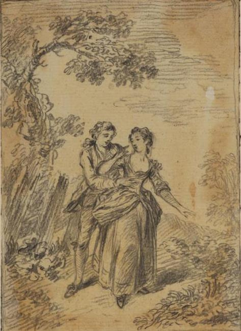 Thomas Gainsborough. Loving couple in landscape