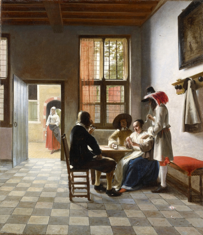 Pieter de Hooch. The card players in the sun room
