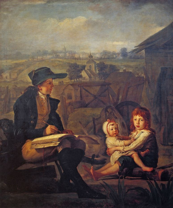 Вертер, рисующий детей
