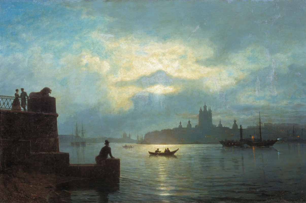Lev Feliksovich Lagorio. Moonlit night on the Neva river (view from the Okhta river to the Smolny)