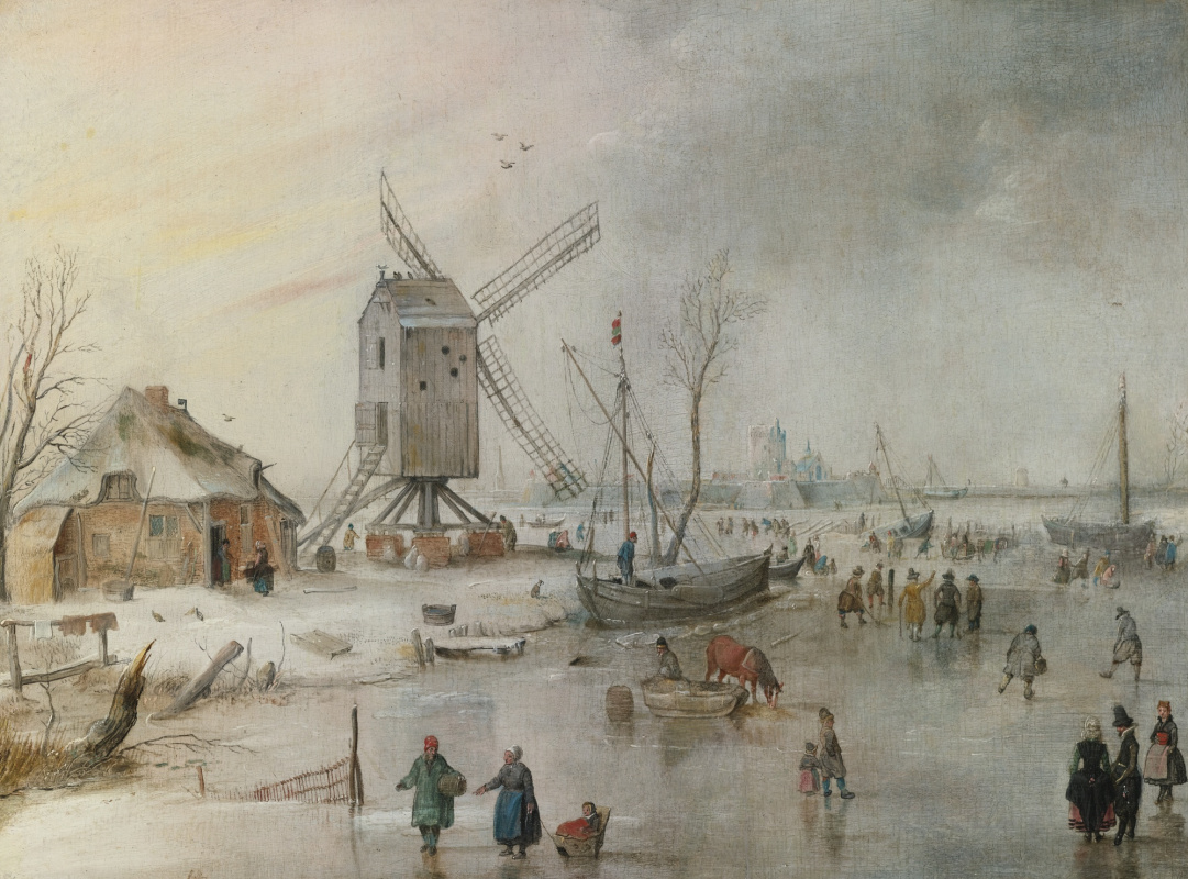 Hendrik Avercamp. Windmill and frozen river