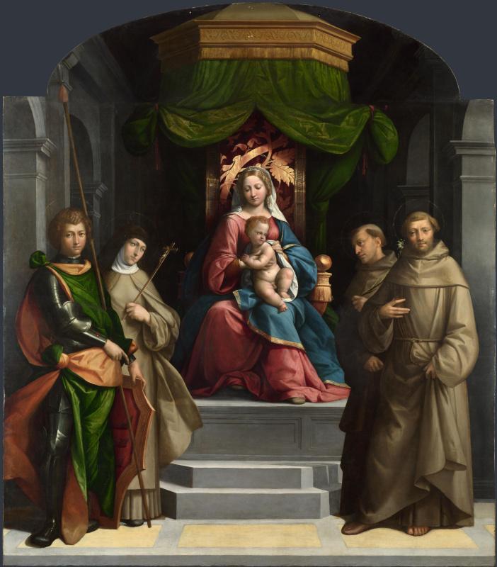 Гарофало. Мадонна с младенцем на троне со святыми