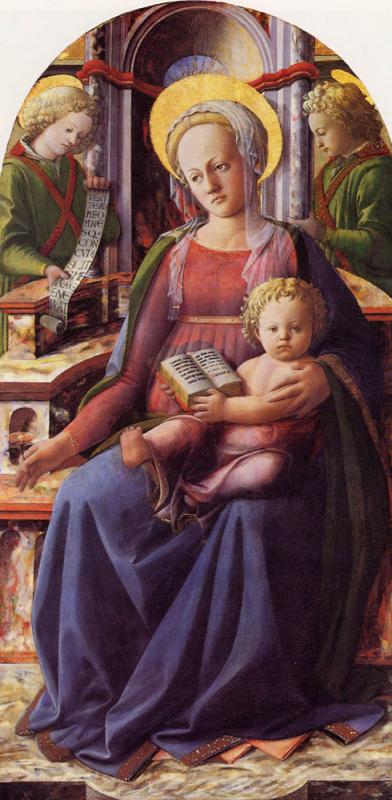 Филиппино Липпи. Мадонна с младенцем на троне с двумя ангелами