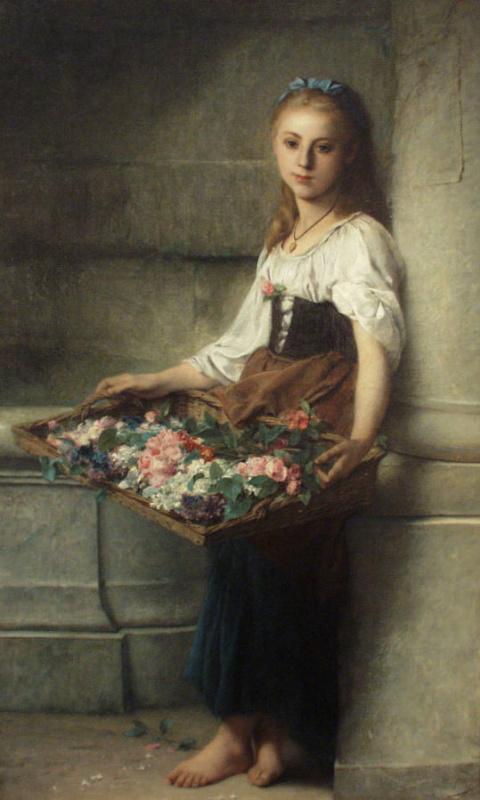 Адольф Джордан. Девочка с цветами