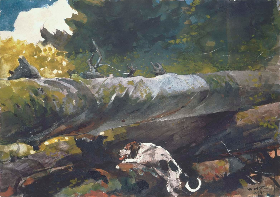 Winslow Homer. Hunting dog among the dead trees