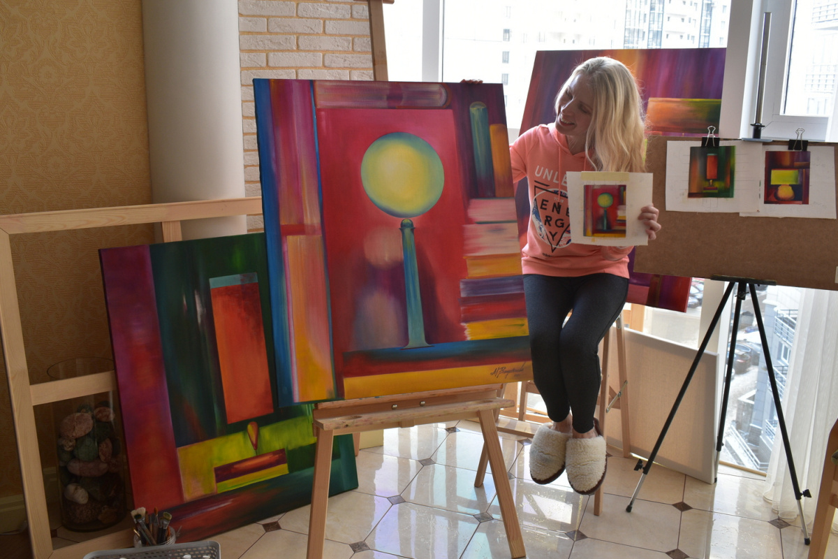 LIGHT AND BOOKS - original oil painting