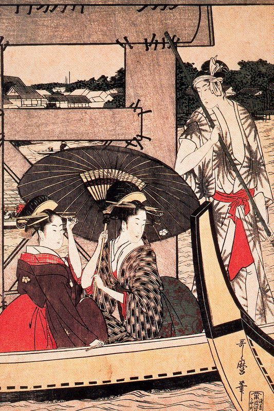 Kitagawa Utamaro. Enjoy the cool evening breeze on the bridge and under the bridge