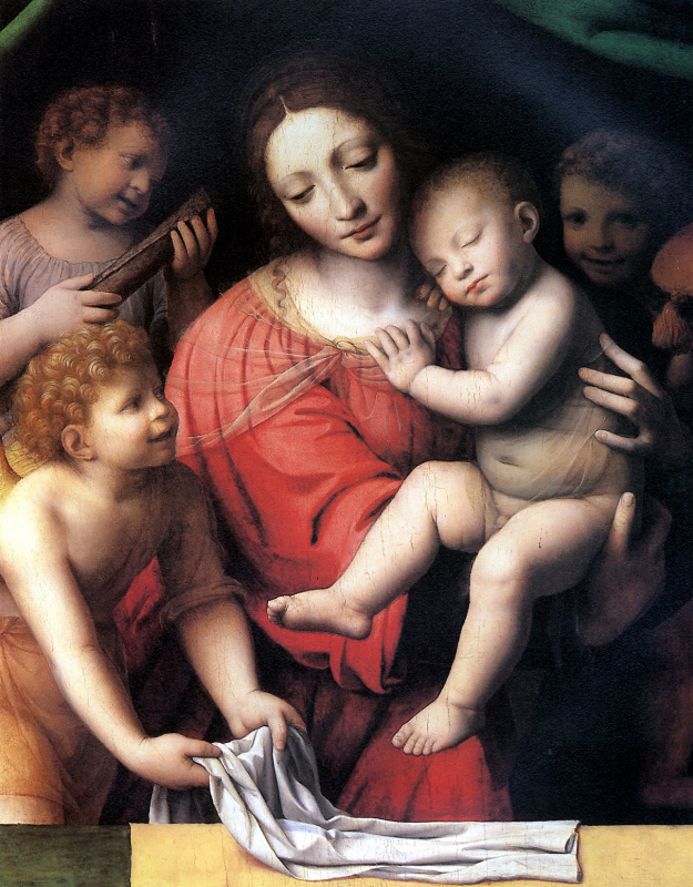 Бернардино Луини. Мадонна со спящим младенцем и три ангела