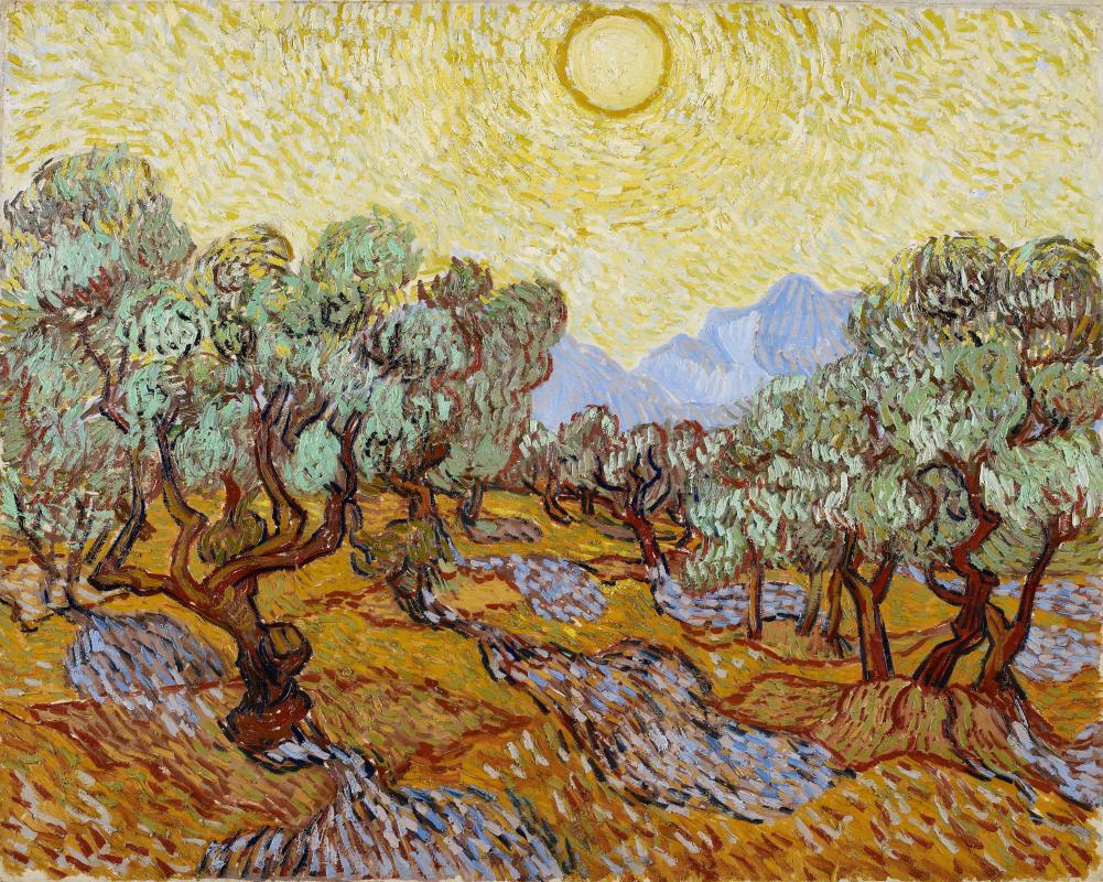 Винсент Ван Гог. Оливковые деревья под жёлтым небом и ноябрьским солнцем