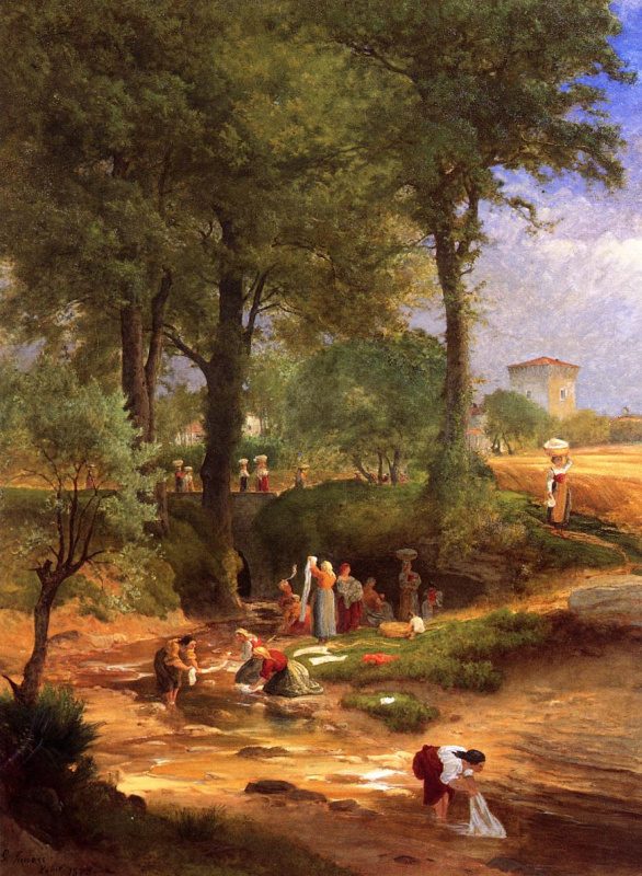 George Innes. Washing day near Perugia otherwise Italian washerwomen