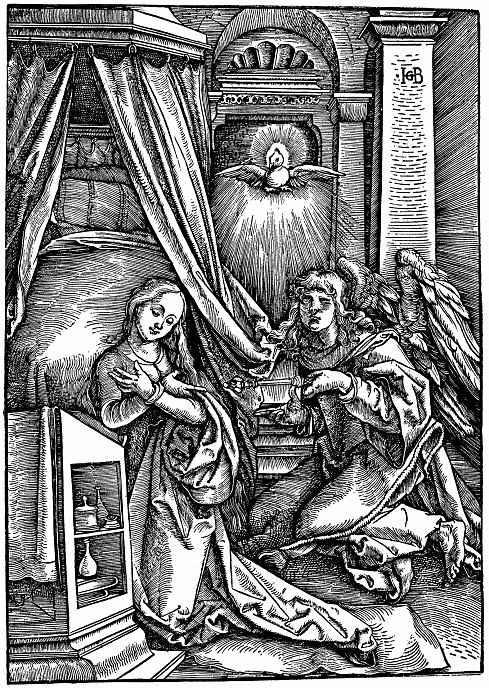 Ханс Бальдунг. Архангел Гавриил возвещает Марии о рождении Христа