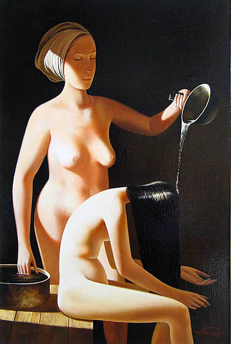 Алексей Николаевич Базанов. В бане. Фрагмент 1996