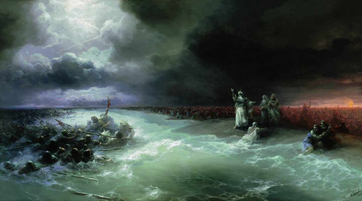 Ivan Aivazovsky. The transition of the Jews through the Red sea