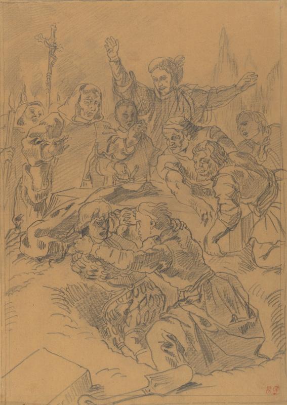 Гамлет и Лаэрт у могилы Офелии