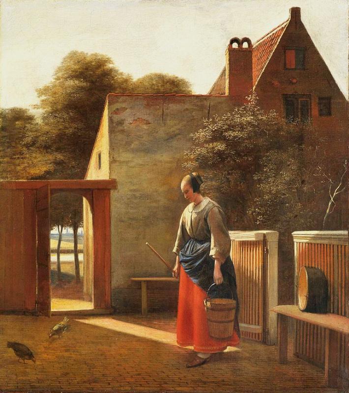 Питер де Хох. Горничная с ведром во дворе