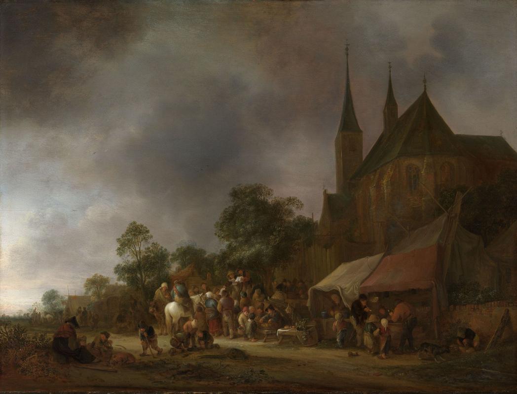 Исаак Янс ван Остаде. Деревенская ярмарка с церковью позади