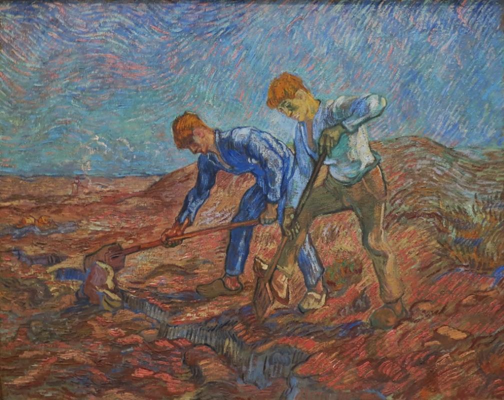 Vincent van Gogh. Two digging peasant