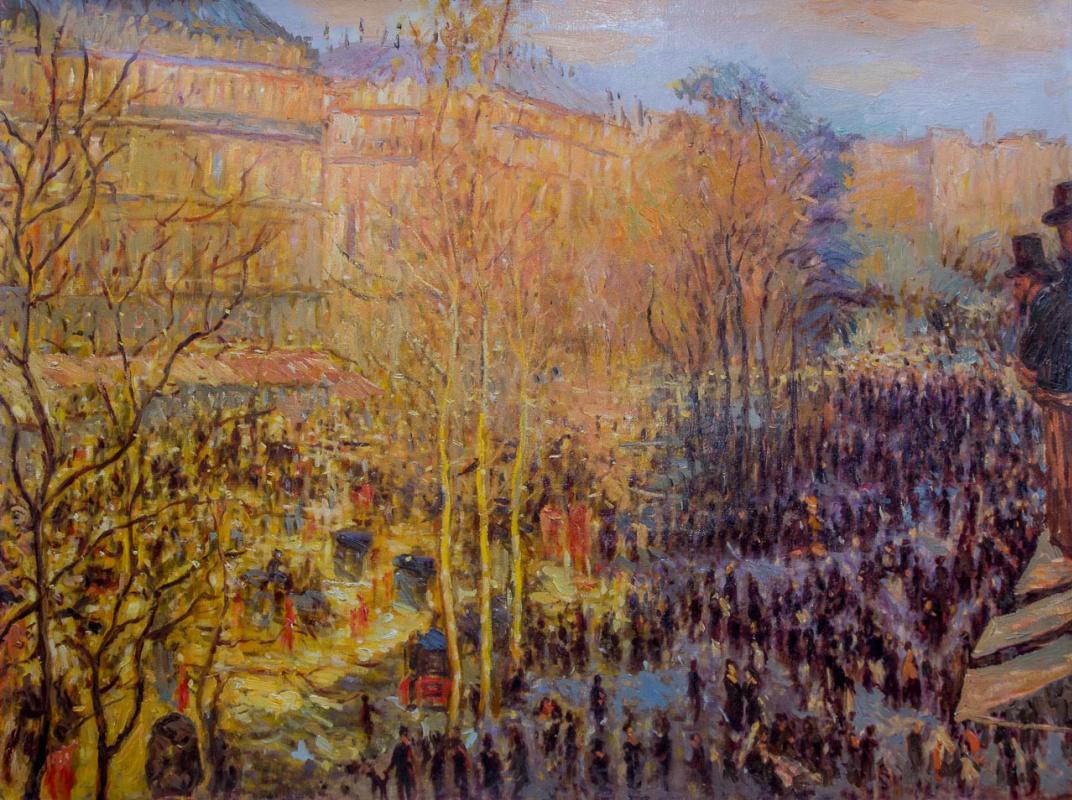 Савелий Камский. Копия картины Клода Моне Бульвар Капуцинок в Париже (Boulevard des Capucines) 1873 г.