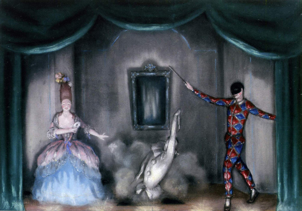 Dmitry Dmitrievich Bushen. Columbine, Pierrot and harlequin