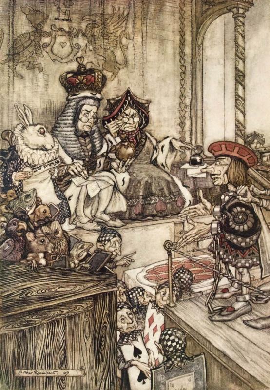 """Артур Рэкхэм. Суд над валетом. Иллюстрация к сказке """"Алиса в Стране чудес"""""""