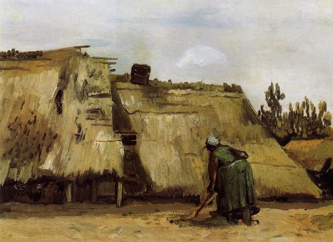 Vincent van Gogh. Peasant woman digging in front of his house