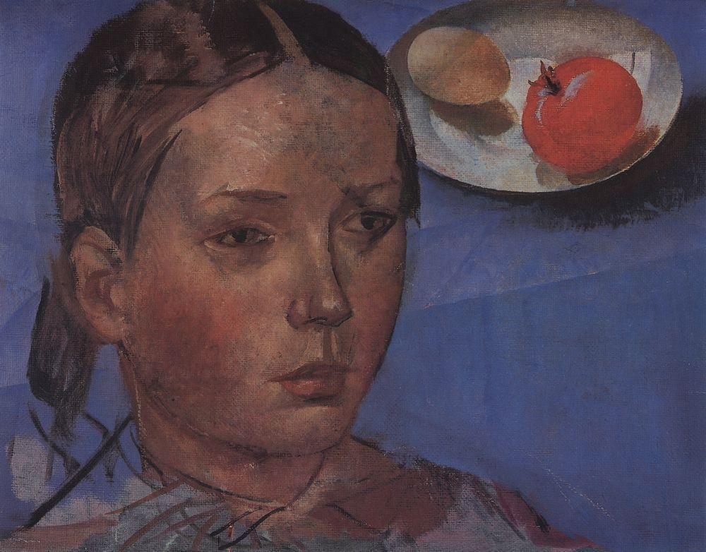 Кузьма Сергеевич Петров-Водкин. Портрет дочери на фоне натюрморта