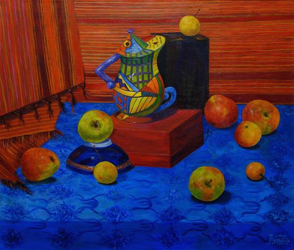 Larissa Lukaneva. Still life with colored tea and Siberian apples