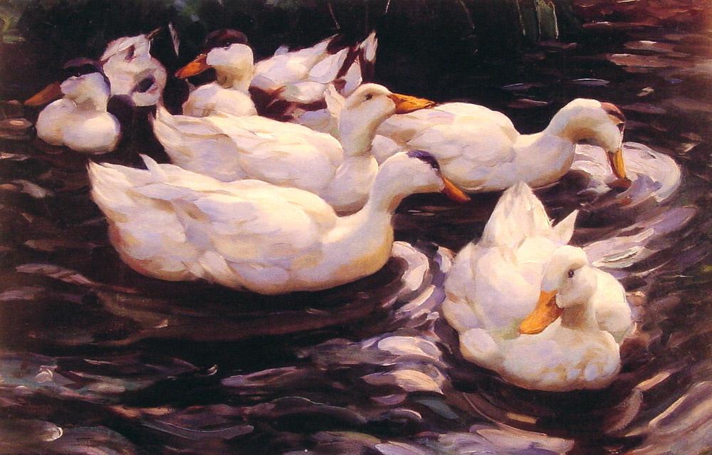 Alexander Kester. Six ducks in a pond