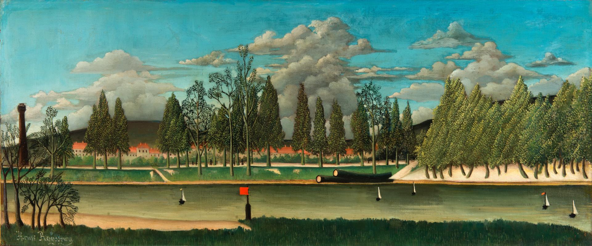 Анри Руссо. Канал и ландшафт со стволами деревьев