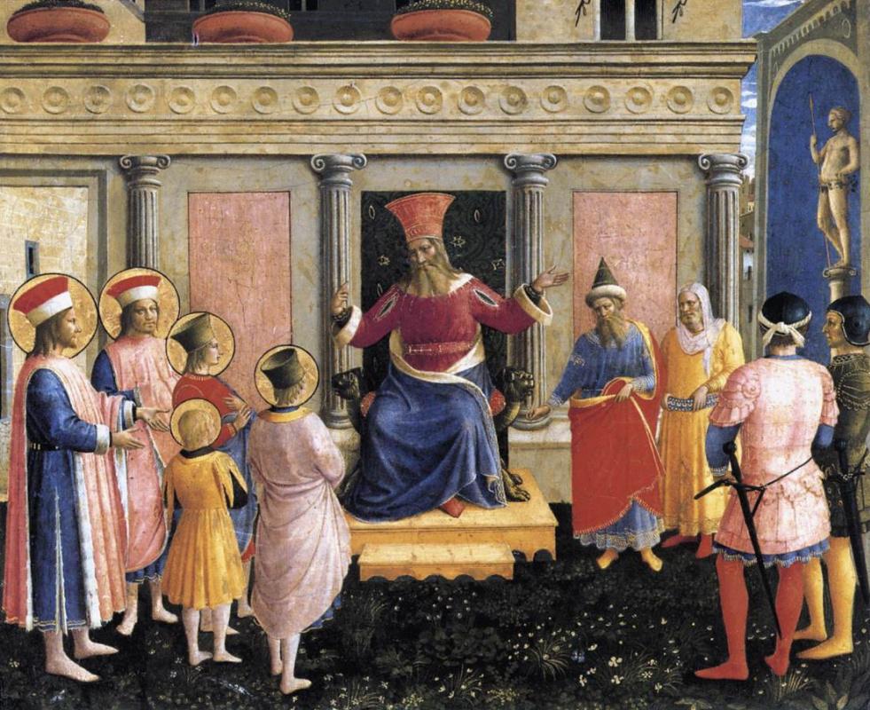 Фра Беато Анджелико. Святые Косьма и Дамиан представляют своих братьев проконсулу Лисиасу. Алтарь монастыря Сан Марко. Пределла 1