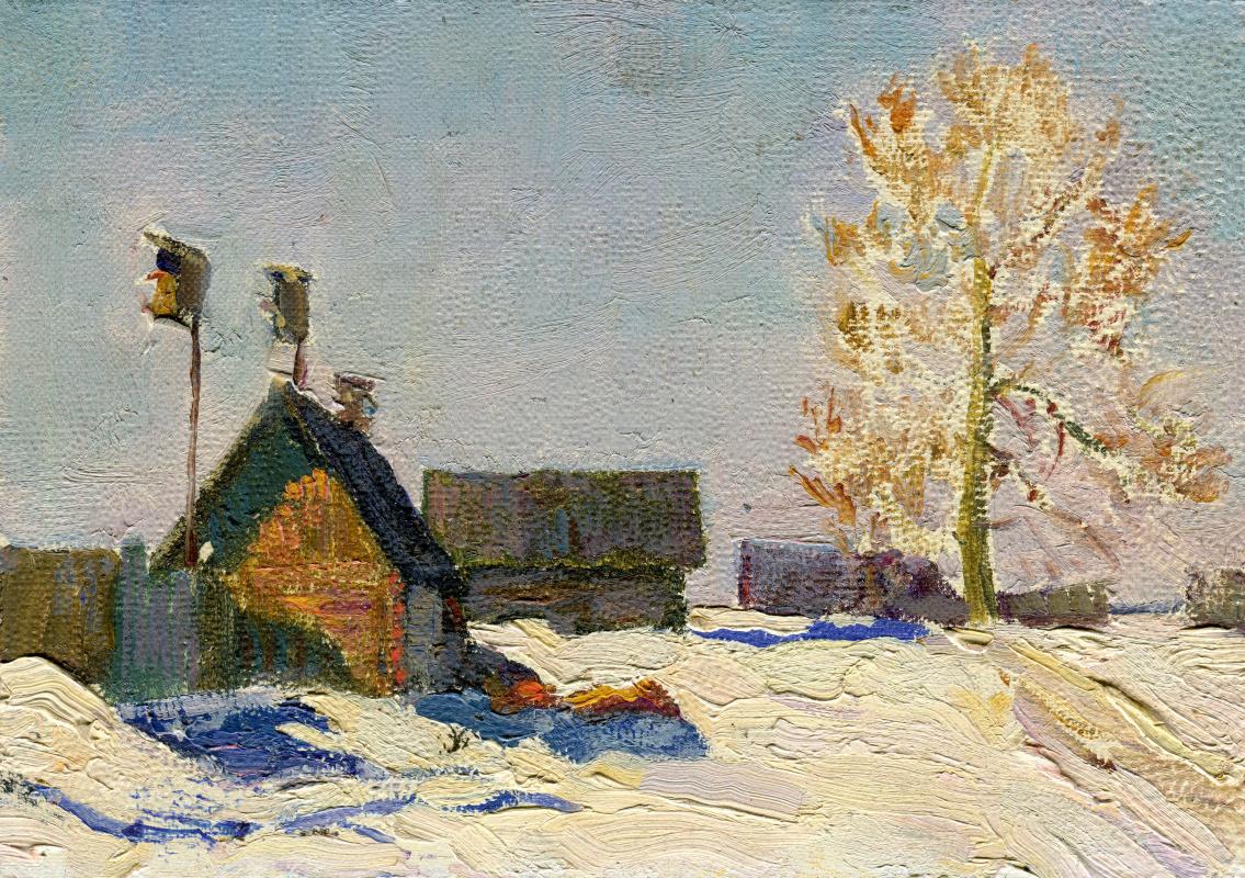 "Vasily Fadeevich Demin. Etude ""Tuvan Village in Winter"""