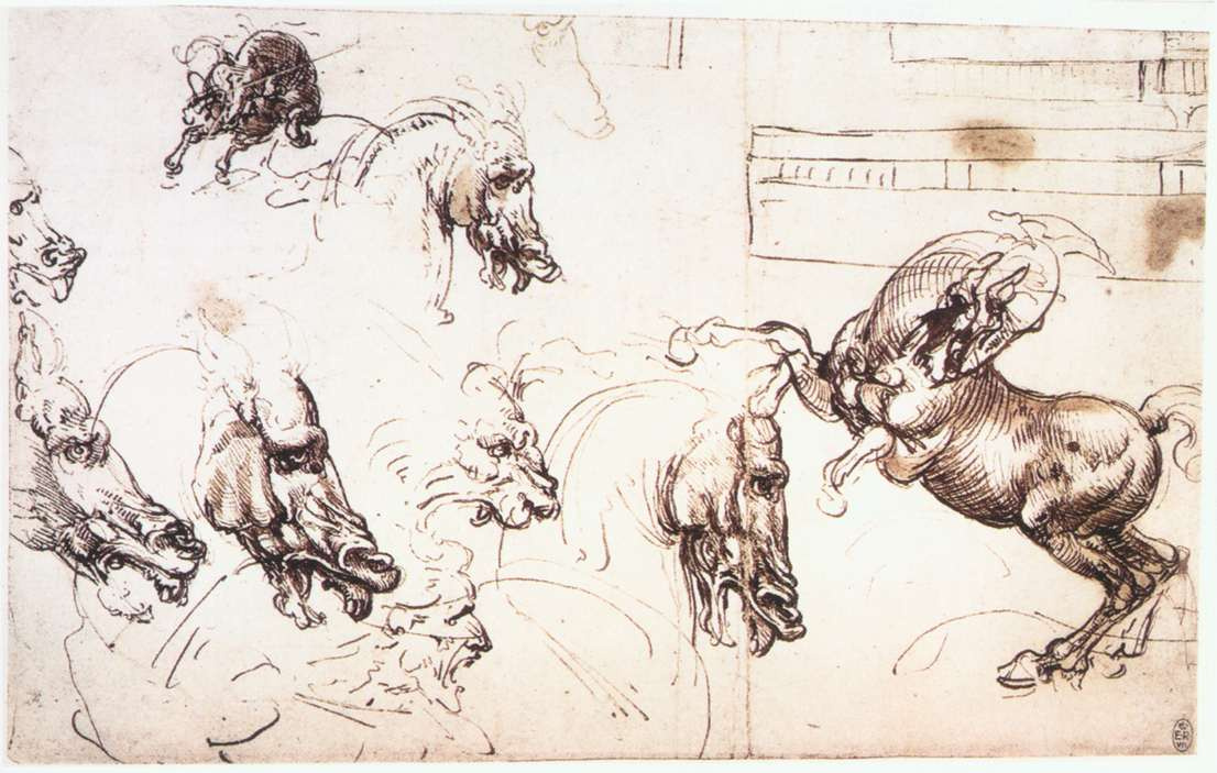 "Leonardo da Vinci. Sketches of horses for the ""battle of Anghiari"""