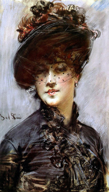 Giovanni Boldini. Woman in a black hat with a veil