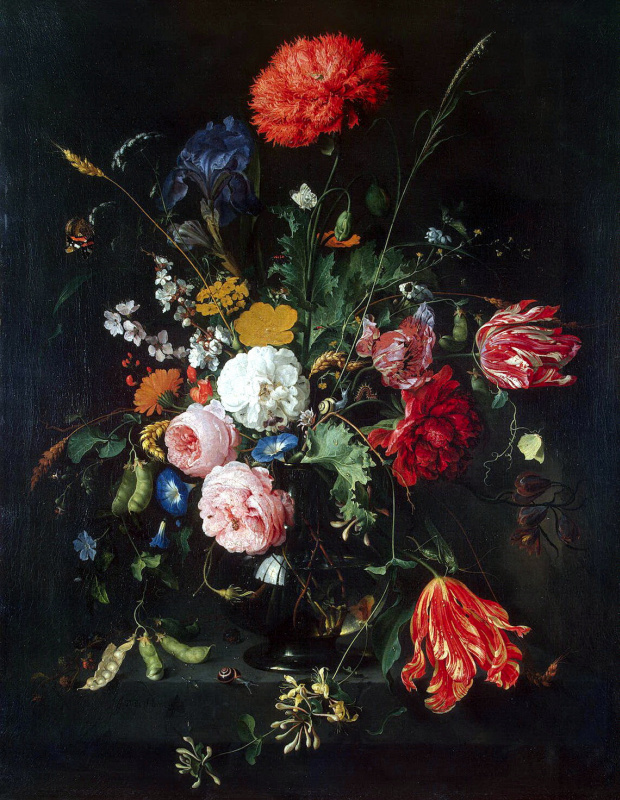 Jan Davids de Hem. Flowers in a vase