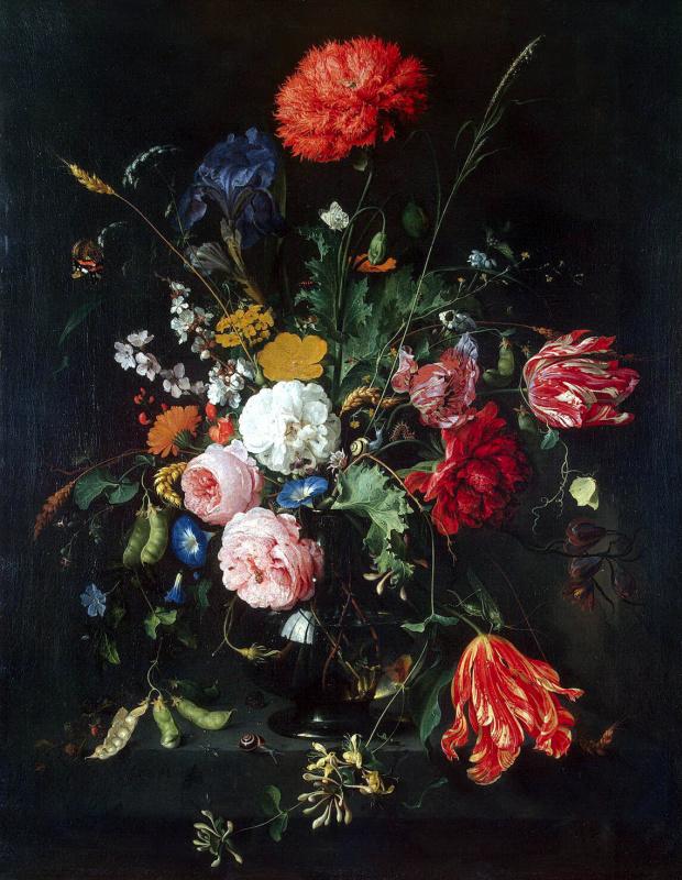 Jan Davids de Hem. Flowers in a vase