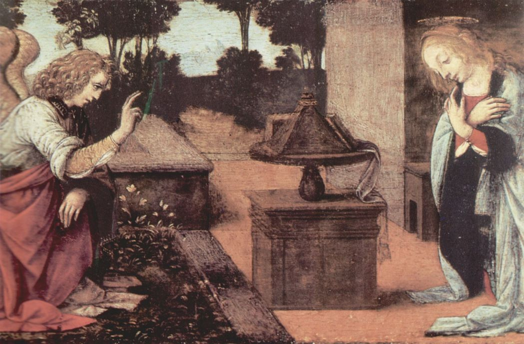 Леонардо да Винчи. Благовещение Марии, деталь