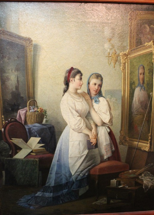 Maria Dmitrievna Rayevskaya-Ivanova. Self-portrait with model