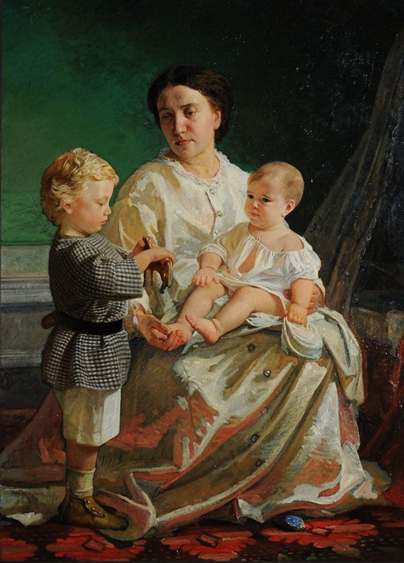 Nikolai Nikolaevich Ge. Portrait of the artist's wife Anna Petrovna with sons Nicholas and Peter