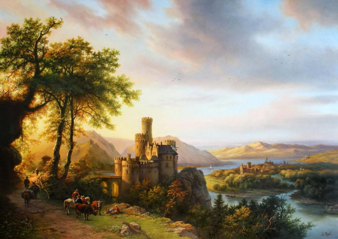 Evening landscape with a castle