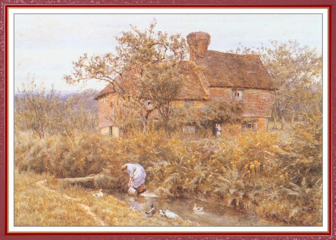 Helen Allingham. The girl in the water