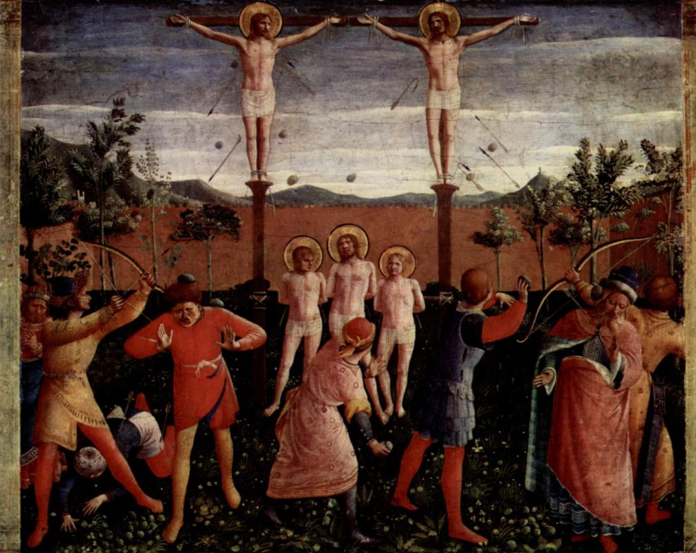 Фра Беато Анджелико. Центральный алтарь святых Косьмы и Дамиана из доминиканского монастыря Сан Марко во Флоренции, основание триптиха, шестая сцена: