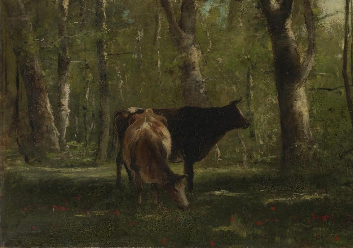 Михай Либ Мункачи. Пастушка в лесу. Фрагмент. Коровы