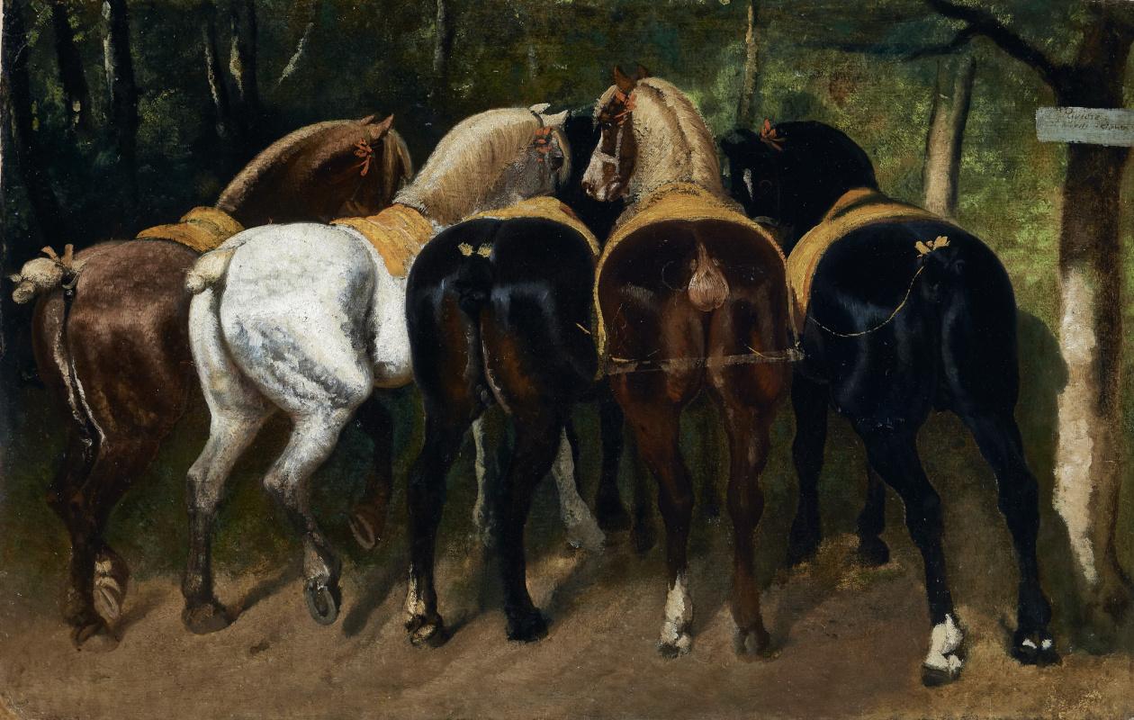 Теодор Жерико. Пять разномастных лошадей в стойле