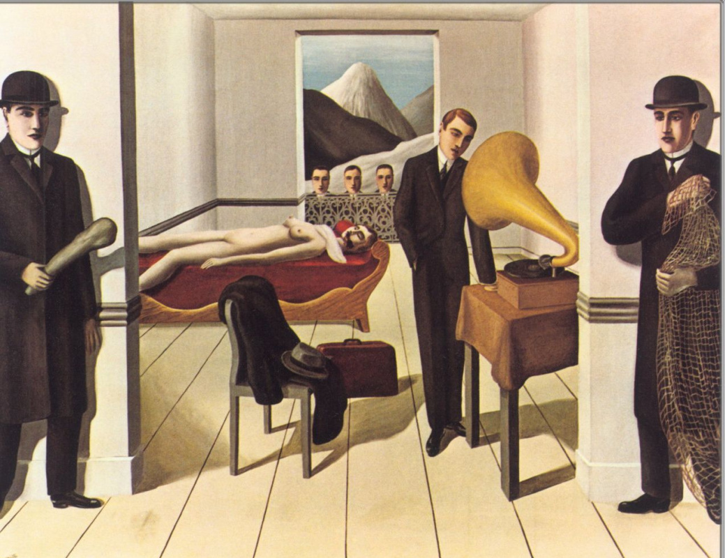 a surrealistic painting time transfixed by rene margritte