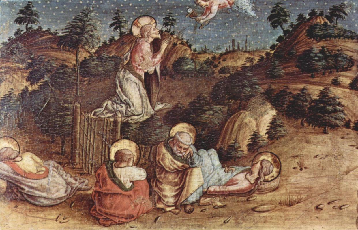 Карло Кривелли. Христос в Гефсиманском саду. Алтарь из церкви Сан Сильвестро в Масса Фермана, левая внешняя пределла